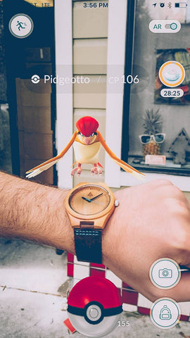 Pokemon Go Snap of Pidgeotto with Tree Hut Boyd Blue Bamboo Wood Watch