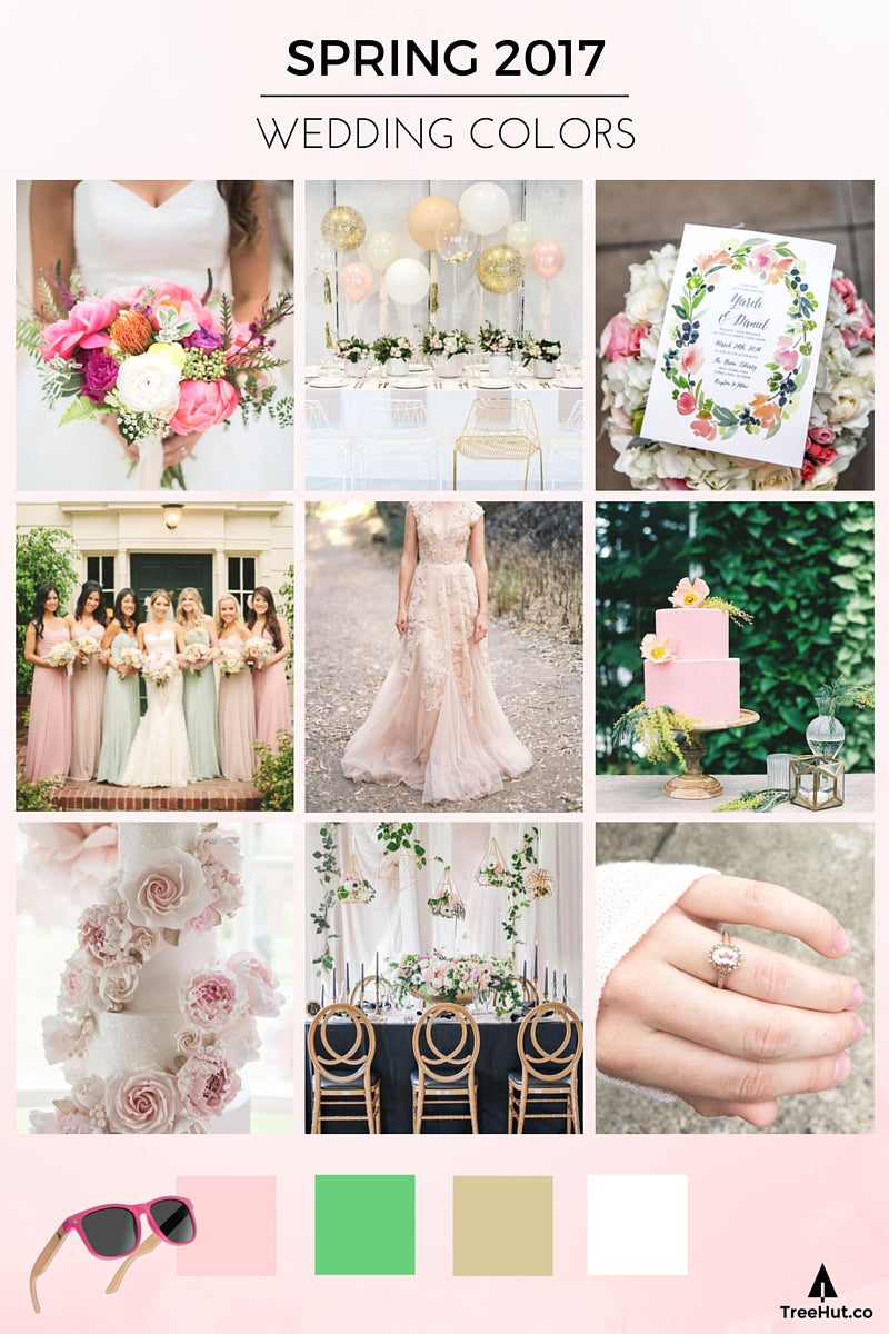 Wedding 2017 Spring Colors: Pastel Pink and Floral Hues Palette