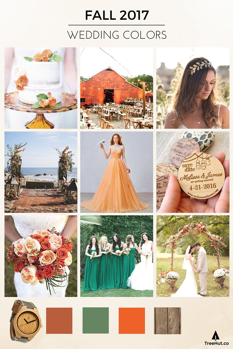 Walk down the aisle in 2017s popular wedding colors tree hut fall autumn 2017 wedding colors rustic amber orange sage green palette junglespirit Choice Image