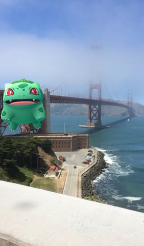 Pokemon Go Snapshot of Bulbashot at the Golden Gate Bridge, San Francisco