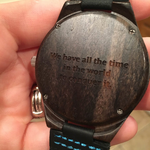 Engraved & Personalized Wood Watch with Black Leather Band