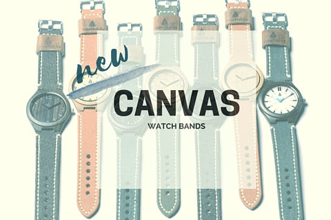 New Tree Hut Wood Watches featuring a genuine Italian leather band handstitched with military grade canvas fabric. Comes in rustic amber khaki, denim blue, and vintage black!
