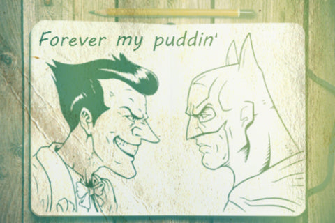 batman puddin and harley inspired engraved watch | treehutco