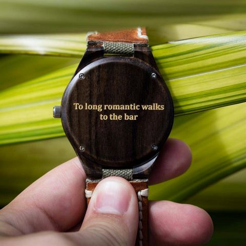 canvas leather band wood watch