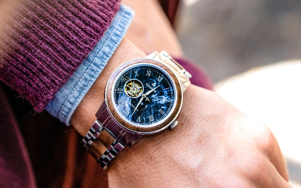 Atlas Walnut Blue Marble Watch For Men