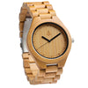 The all bamboo wooden watch is equipped with high quality Japan quartz movement and stainless steel tri-fold clasp with push buttons. Diameter of the dial 1.7 inches. Strap and case are made of 100% bamboo.