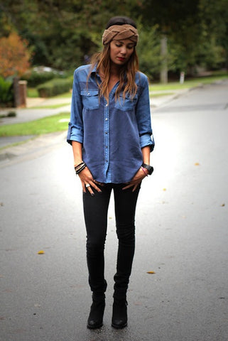 denim on denim, black jeans navy shirt