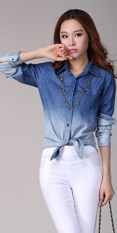 gradient denim button up, denim on denim