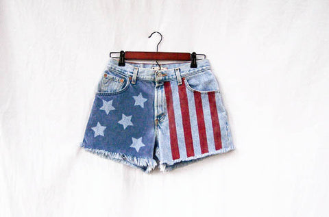 Memorial Day Essentials: Bleached, Hand Painted American Flag Patriotic High Waist Denim Jean Shorts
