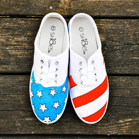 Memorial Day Essentials: Painted American Flag Red White and Blue Canvas Sneakers Shoes Vans