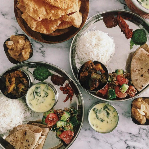 Flatlay of spicy Indian cuisine