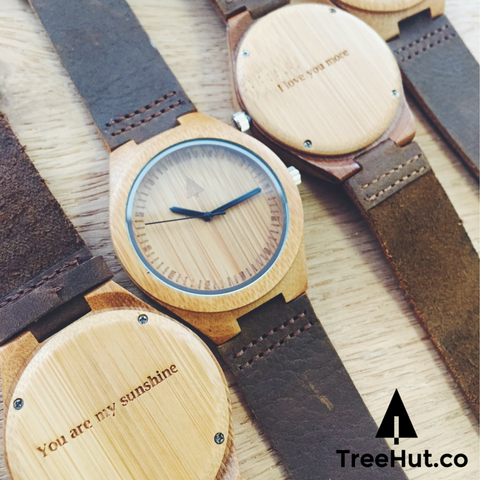 The bamboo wooden watch is equipped with high quality Japan quartz movement. Diameter of the dial 1.7 inches. Strap is made of genuine leather.  • Watch made from Real Wood • Japanese Quartz movement  • Strap made from genuine leather • High Quality Soft Genuine Leather for your everyday wear • Minimalist Design • Durable & Long Lasting • Next business day shipping if no engraving services needed.