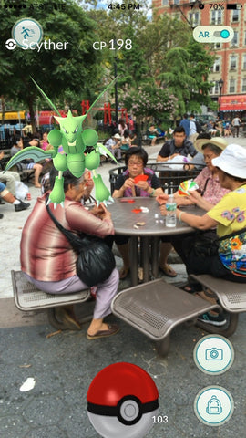 Pokemon Go Snapshot of Scyther at NYC Chinatown