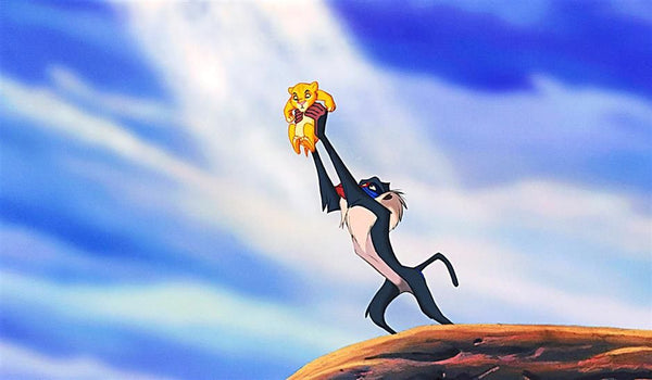 Scene from the Lion King Holding Simba Up in the Air
