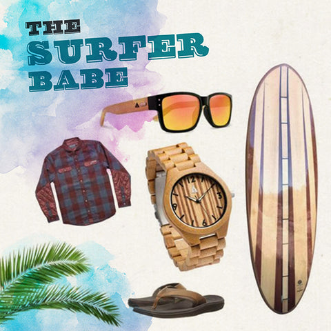 The surfer babe gift holiday ideas from treehut handmade wooden watches in san francisco california