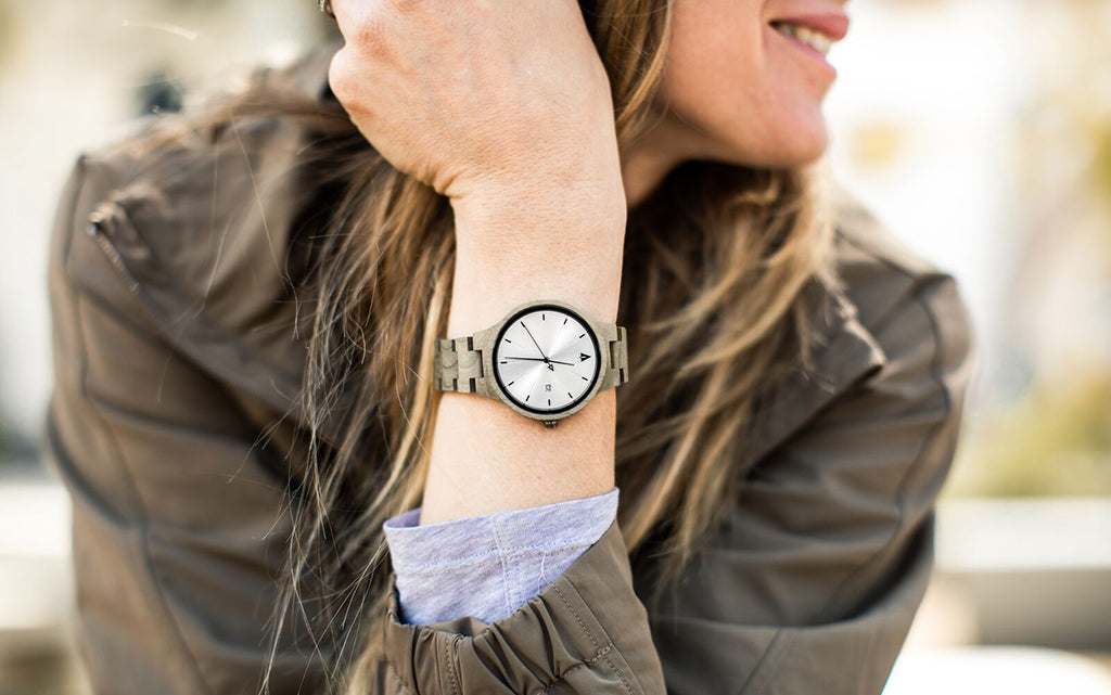 Solstice Grey Maple Wood Watch For Women