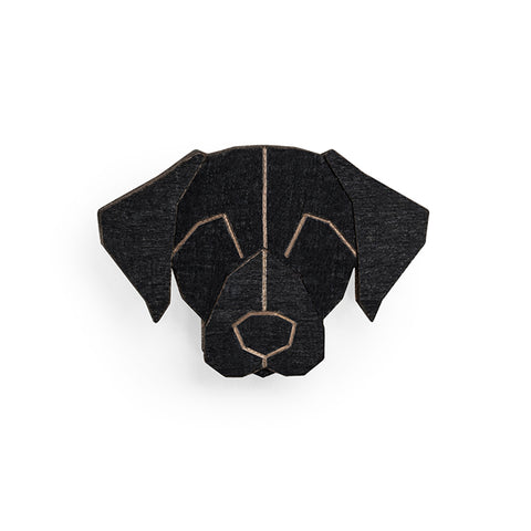 Wooden Black Labrador Pin