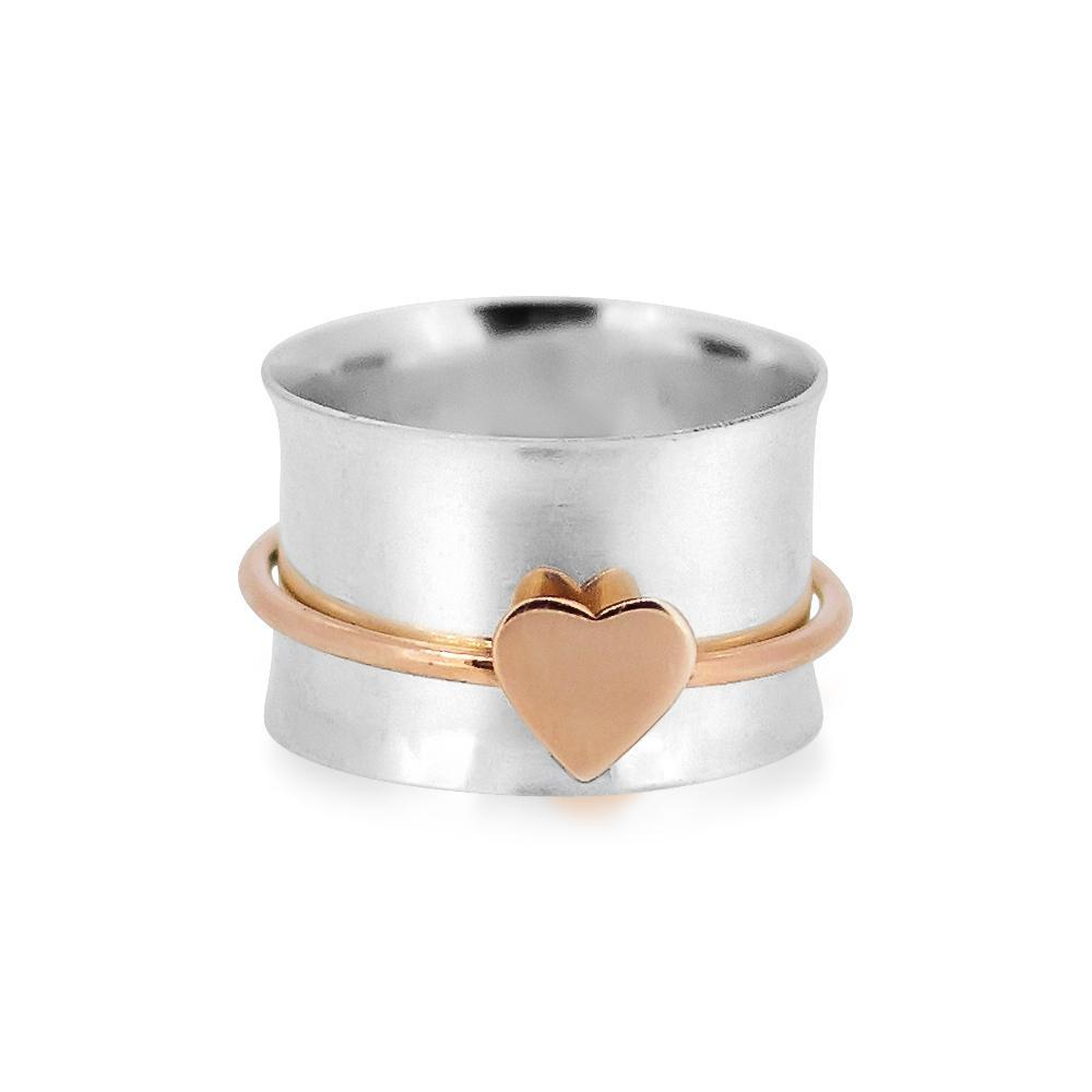 One Heart Sterling Silver Spinner Ring