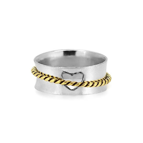 Intertwined Cable Sterling Silver 925 Spinner Ring
