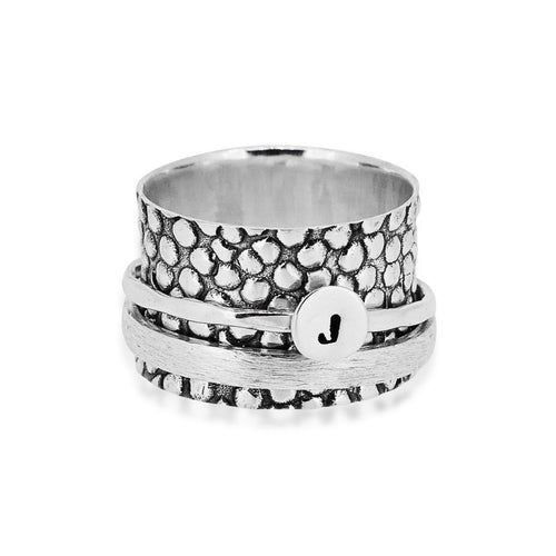 Stingray Initial Ring Sterling Silver 925 Ring