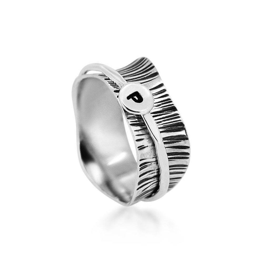 Silvertree Initial Sterling Silver 925 Ring