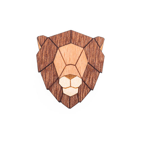 Wooden Lion Pin