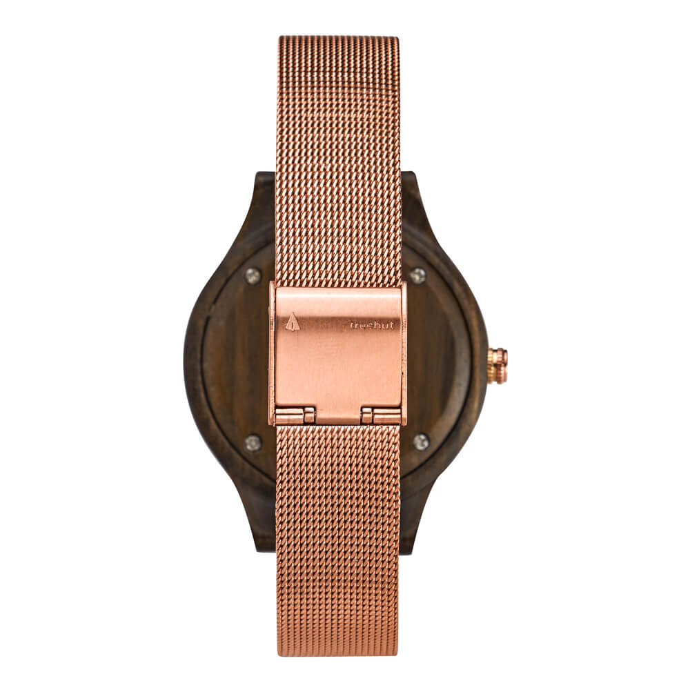 Treehut Solstice Ebony Rose Mesh women's watch