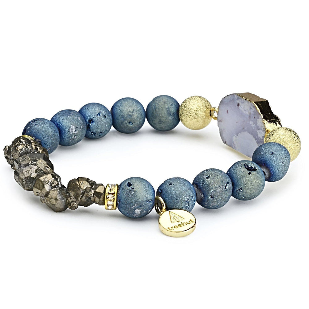 Nomad Teal Raw Gold Bracelet