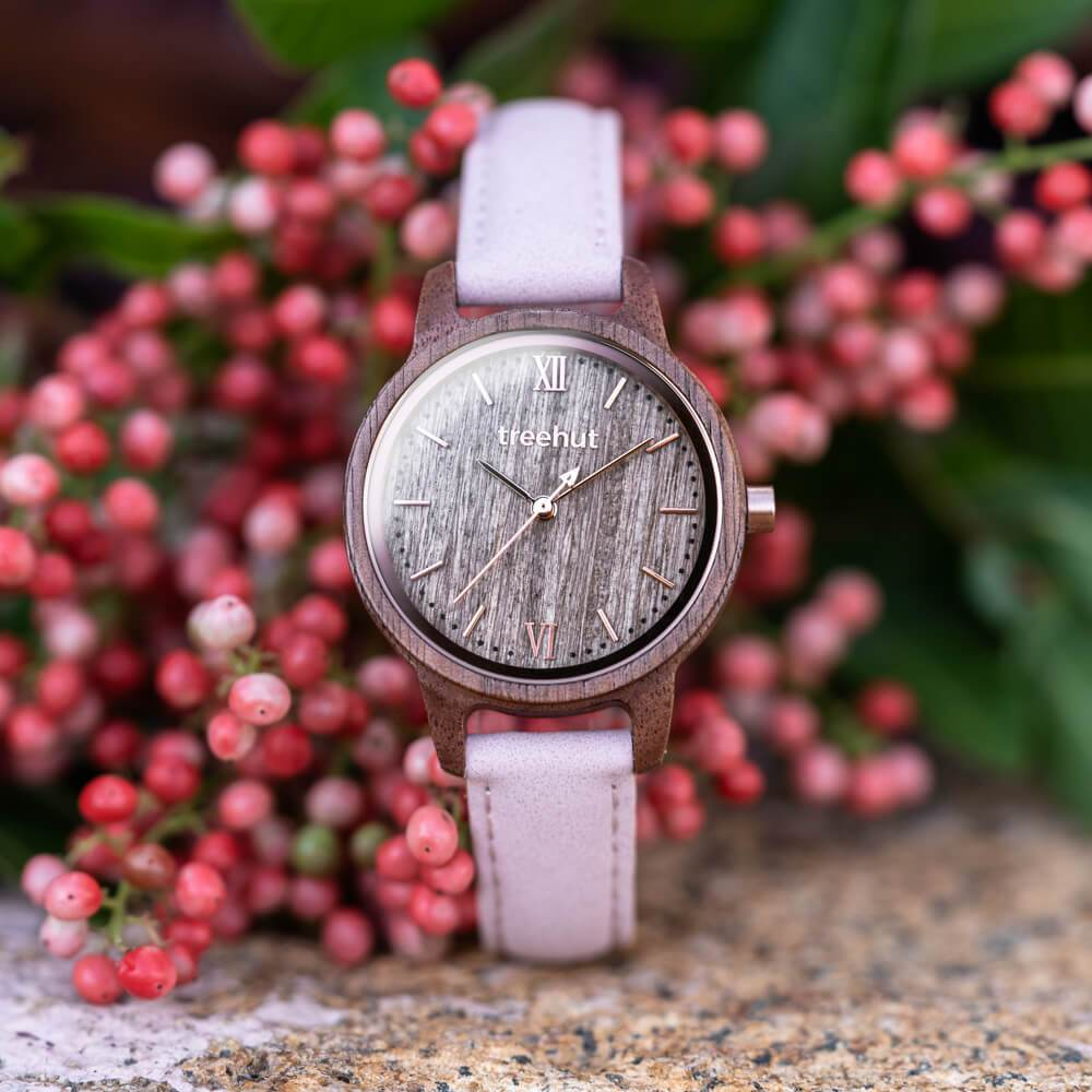 Treehut Odssey Women's Walnut Pink Wooden Watch for Women