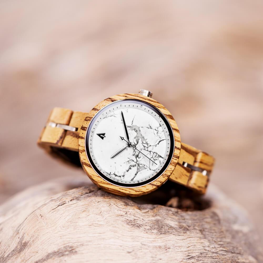 Treehut Theory Zebrawood White Marble women's watch
