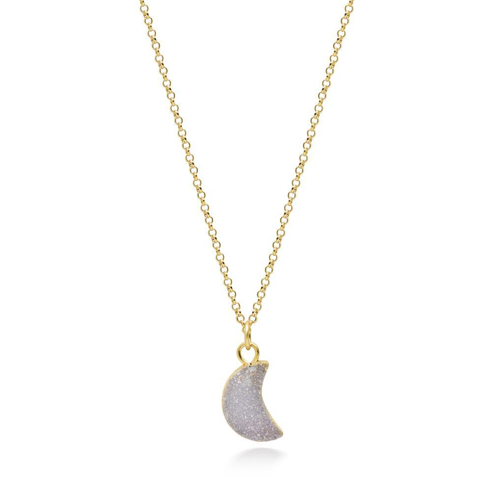 Crescent White Druzy Necklace