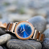 Bay Walnut Blue Sunray Silver men's watch