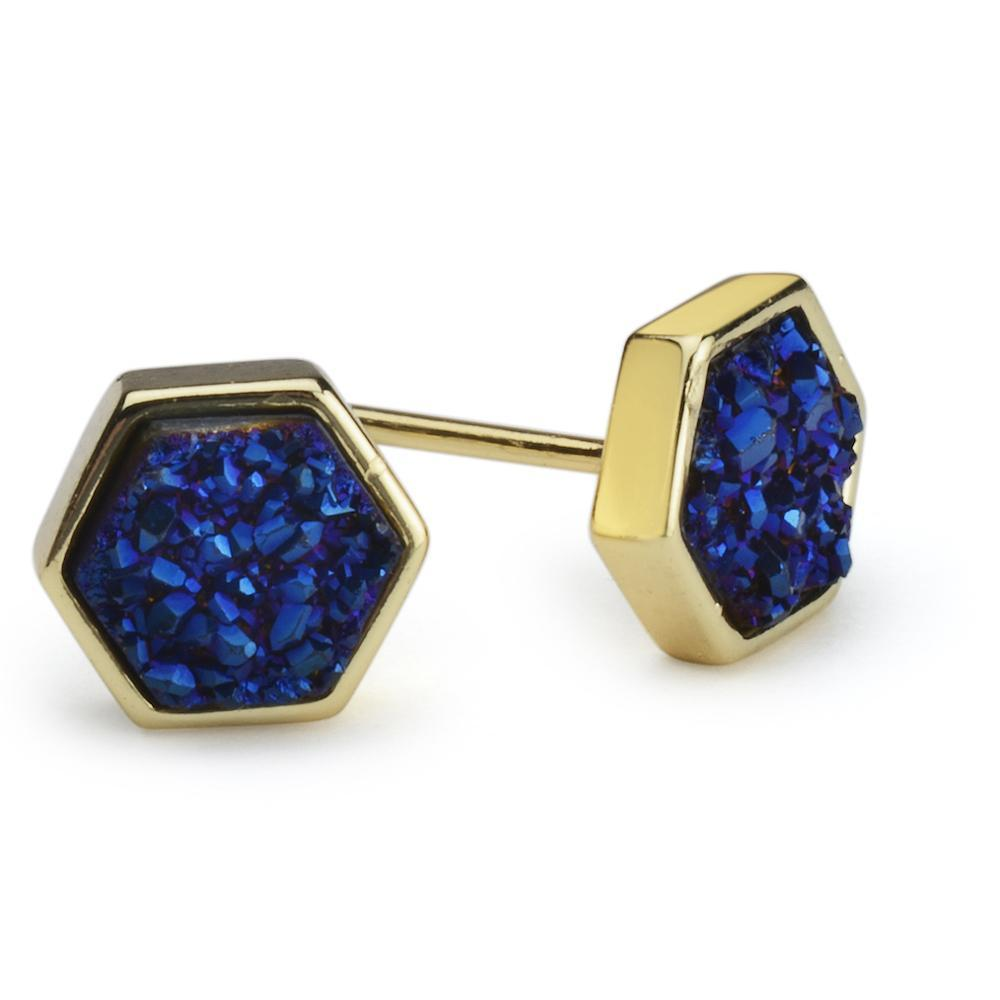 Geo Royal Blue Hex Druzy Earrings
