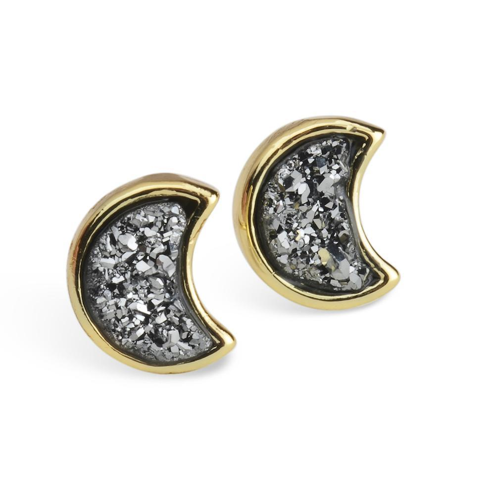 Moonbloom Silver Druzy Earrings
