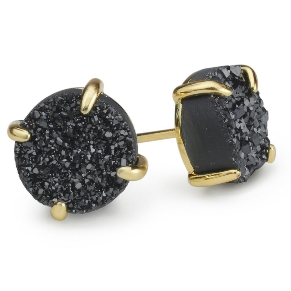 Bloom Midnight Black Druzy Earrings