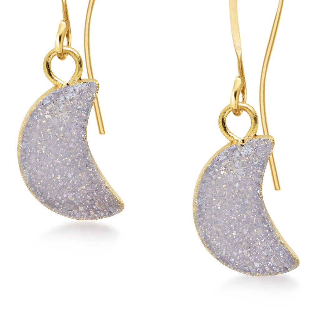 Crescent White Druzy Earrings