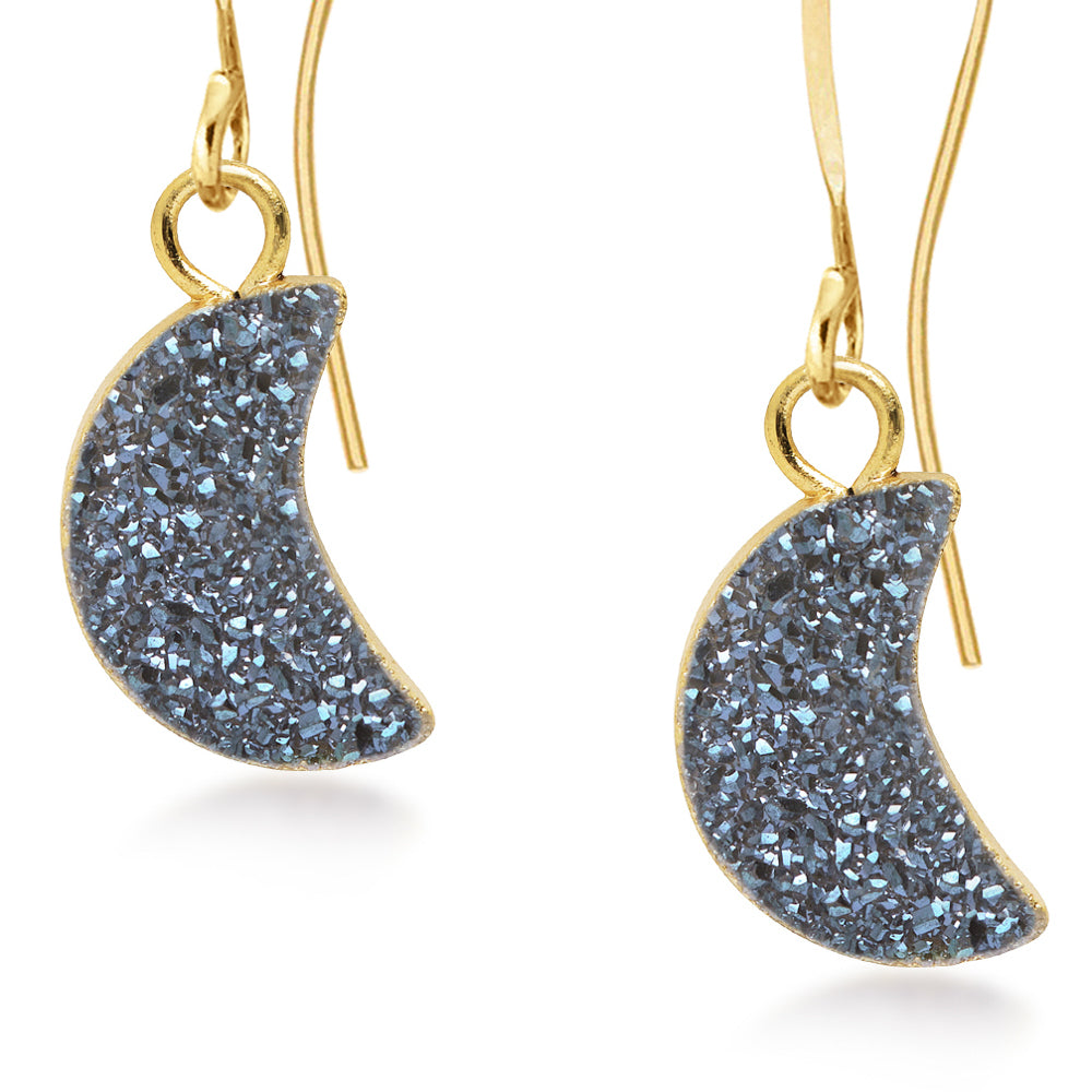 Crescent Blue Druzy Earrings