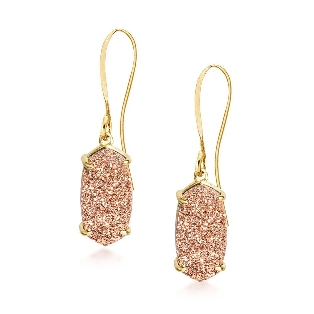 Arya Rose Gold Druzy Earrings