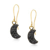 Crescent Black Druzy Earrings