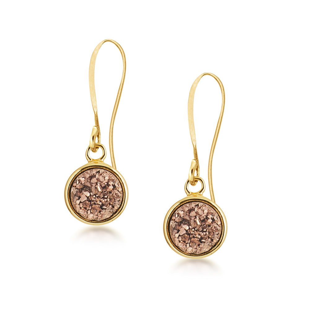 Geo Rose Gold Druzy Earrings