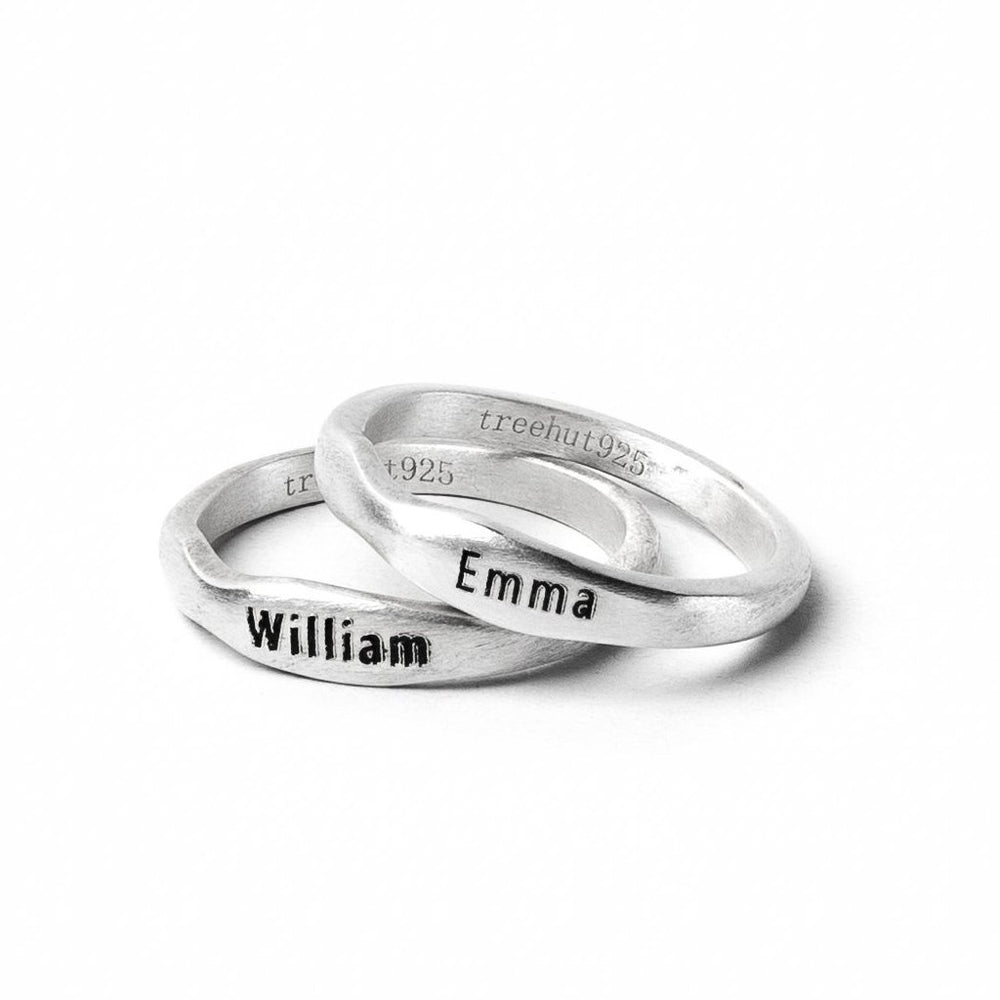 Rustic Engraved Sterling Name Ring