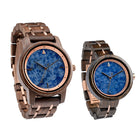 Couples Blue Marble Rose Gold