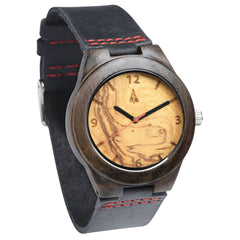 Black Ebony Wooden Watch // Olive Ash Small