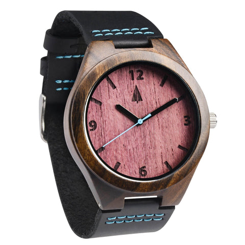 treehut engraved wood and bamboo watches black leather ebony wooden watch purple heart