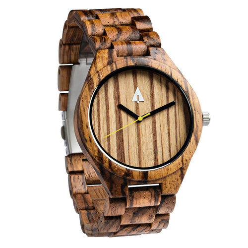 Treehut All Wood Watch // All Zebra wood yellow
