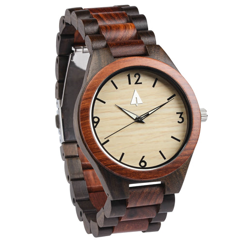 All Wood Watch // Red wood + Ebony Glow in dark dial