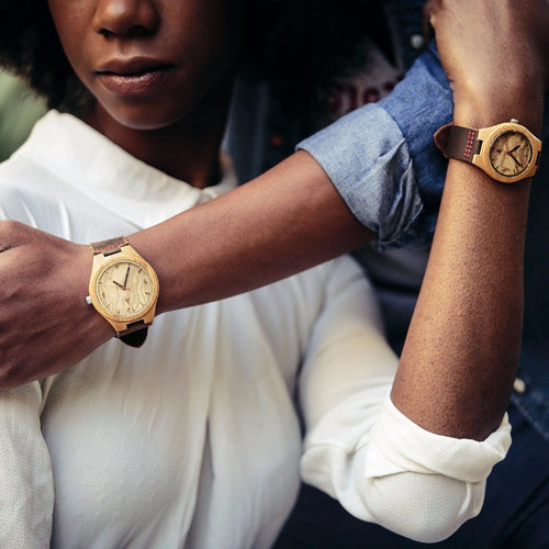Couples Wooden Watches // Olive Ash Red