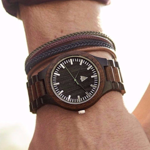 All Wood Watch // Ebony + Walnut 31 Green