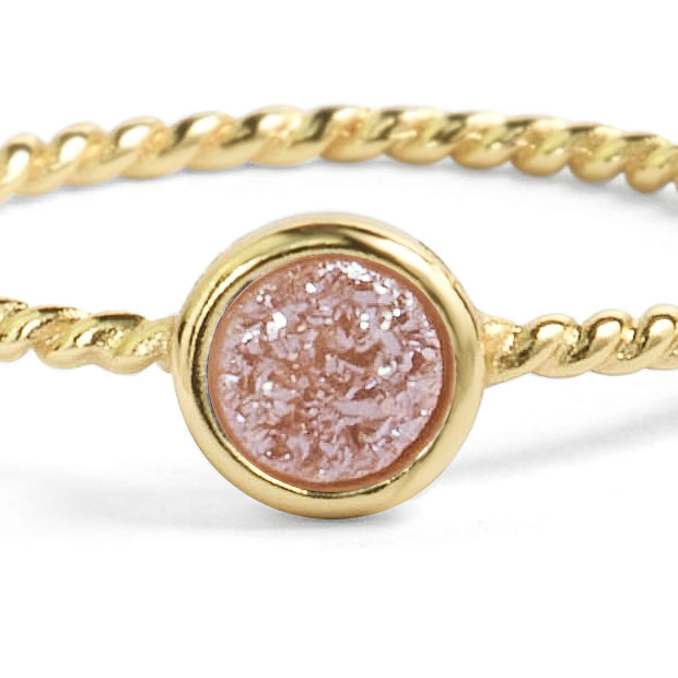 Teeny Champagne Pink Druzy Stacking Ring