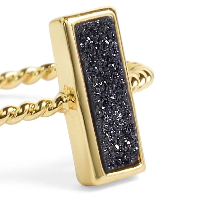 Tall Black Stacking Ring